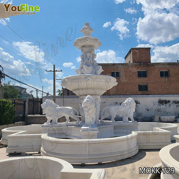 Garden Decoration Tiered Marble Water Lion Fountain for Sale MOKK-729