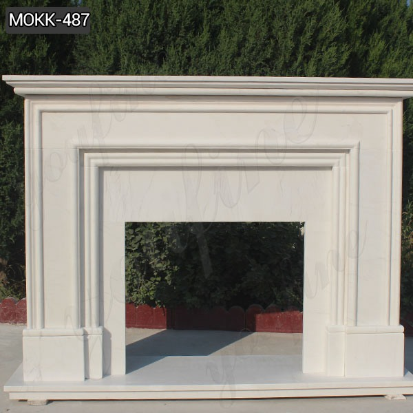Simple Design Modern White Marble Fireplace for Sale MOKK-487