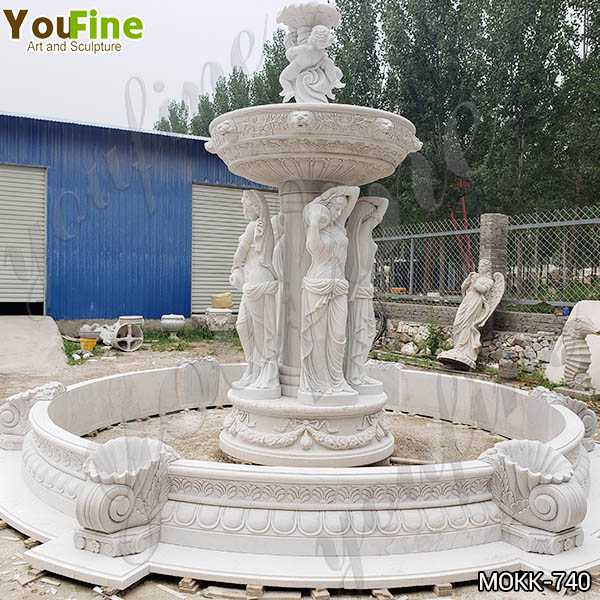 Outdoor Marble Woman Garden Fountain with Angel Manufacturer MOKK-740
