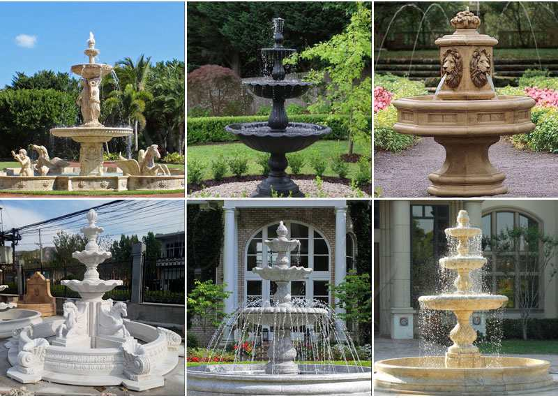 High Quality Tiered Beige Marble Water Lion Fountain