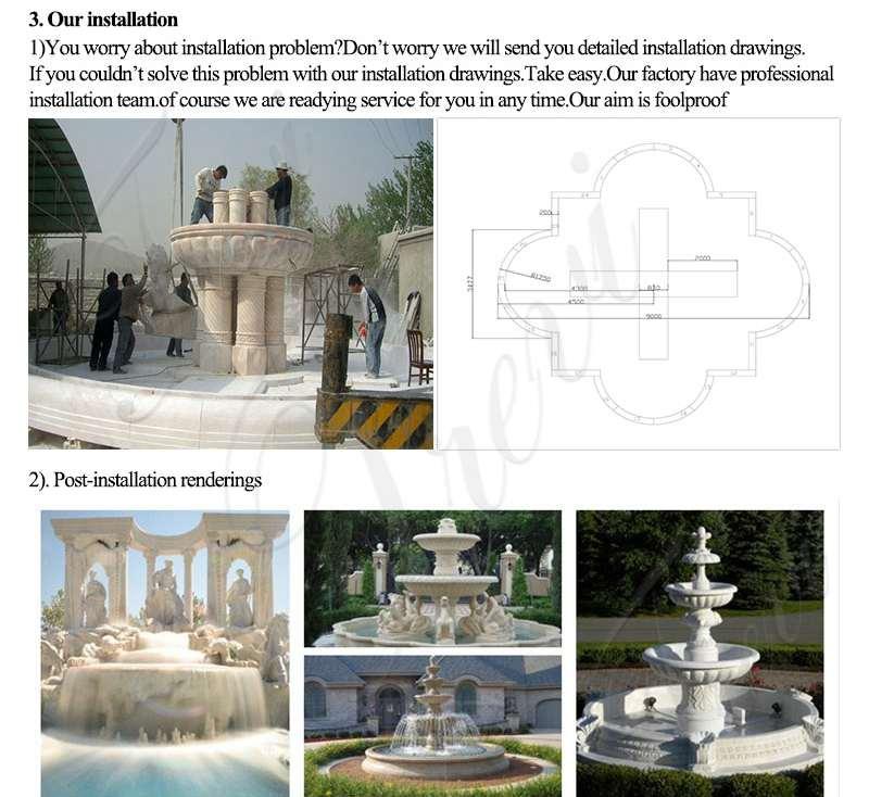 Tiered Beige Marble Water Lion Fountain Factory MOKK-696