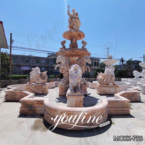 Beige Tiered Marble Water Lion Fountain Poseidon Statue for Sale MOKK-756